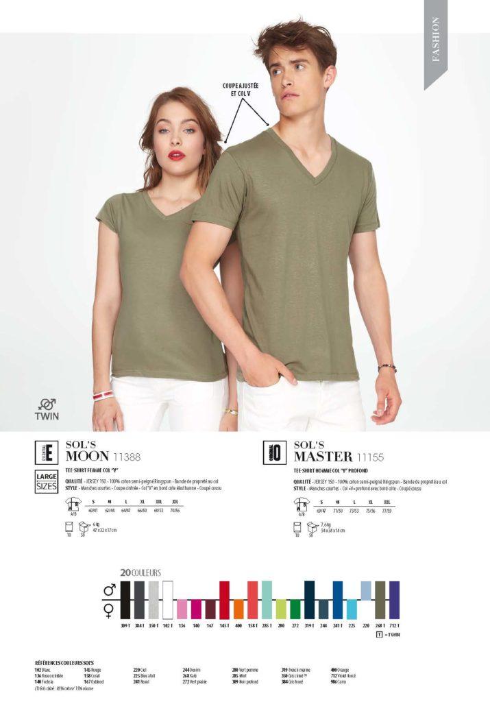 tee shirt col V vert