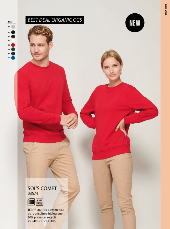 Sweatshirt rouge coton bio
