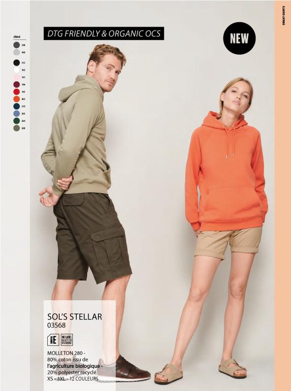 Sweat à capuche orange et kaki